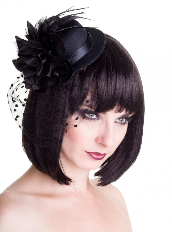 "Barrette Cheveux Chapeau Rockabilly Gothique Banned ""Medium Black Hat"""