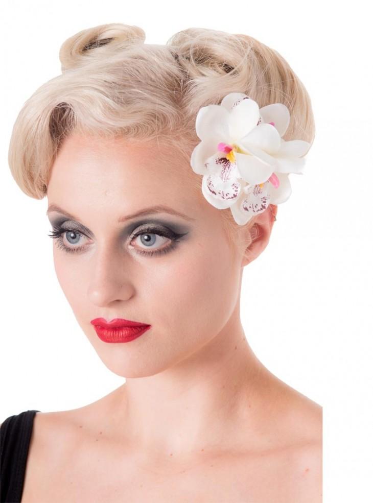"Barrette Cheveux Fleur Rockabilly Retro Banned ""Blossom White"""