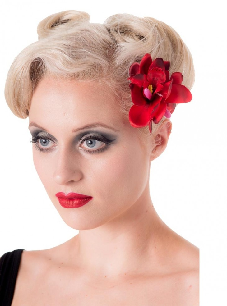 "Barrette Cheveux Fleur Rockabilly Pin-Up Banned ""Blossom Red"""