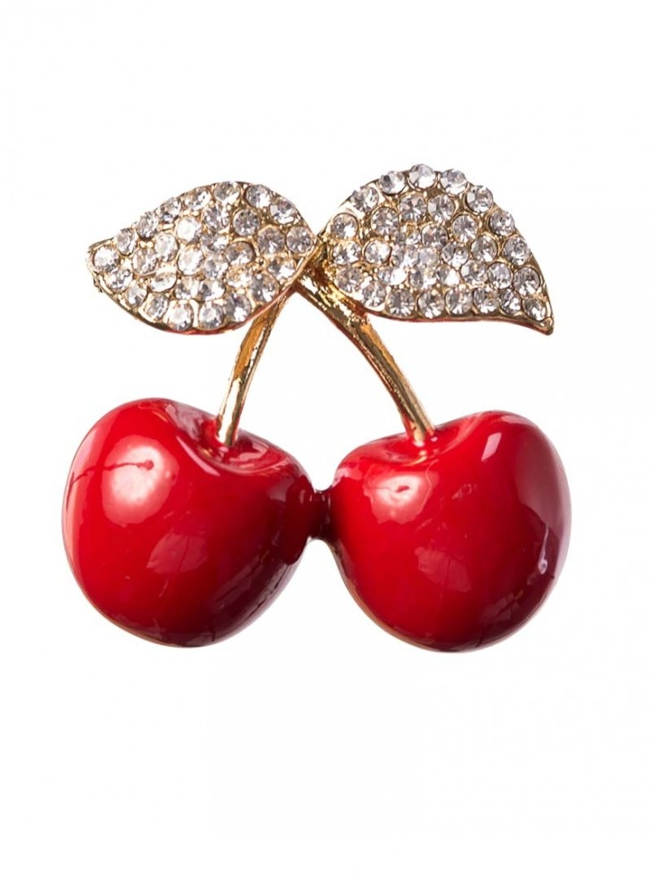 "Broche Pin-Up Rockabilly Vintage Banned ""Cherry Picking"""