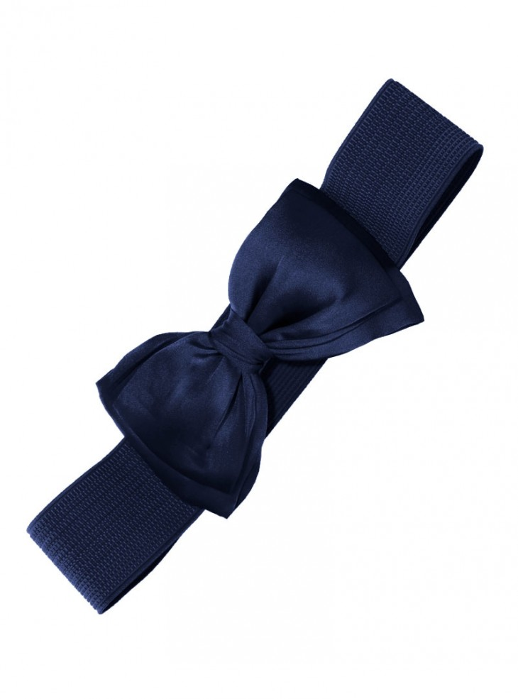 "Ceinture Bleu nuit Rockabilly Pin-Up Années 50 Retro Banned ""Dark Blue Bow"""