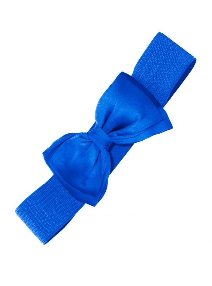 """Ceinture Bleu Vintage Pin-Up Années 50 Retro Banned """"Blue Bow"""""""