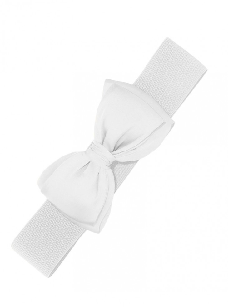 "Ceinture Blanche Rero Pin-Up Années 50 Vintage Banned ""White Bow"""
