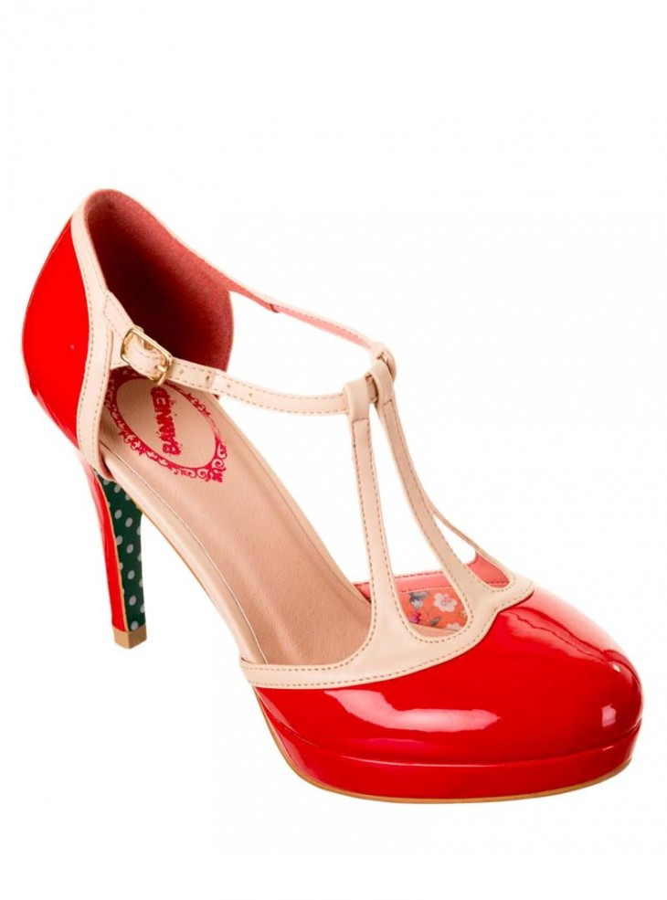 "Chaussures Escarpins Années 50 Pin-Up Rockabilly Banned ""Betty Red"""