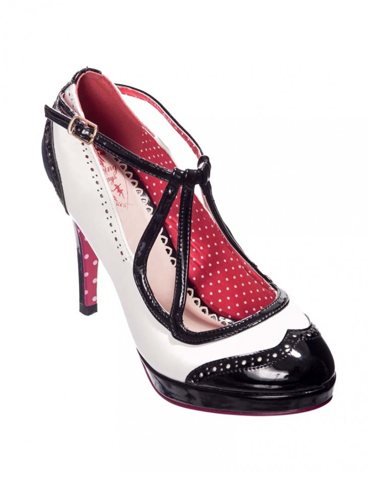 "Chaussures Escarpins Rockabilly Pin-Up Années 50 Banned ""Just One Look White"""