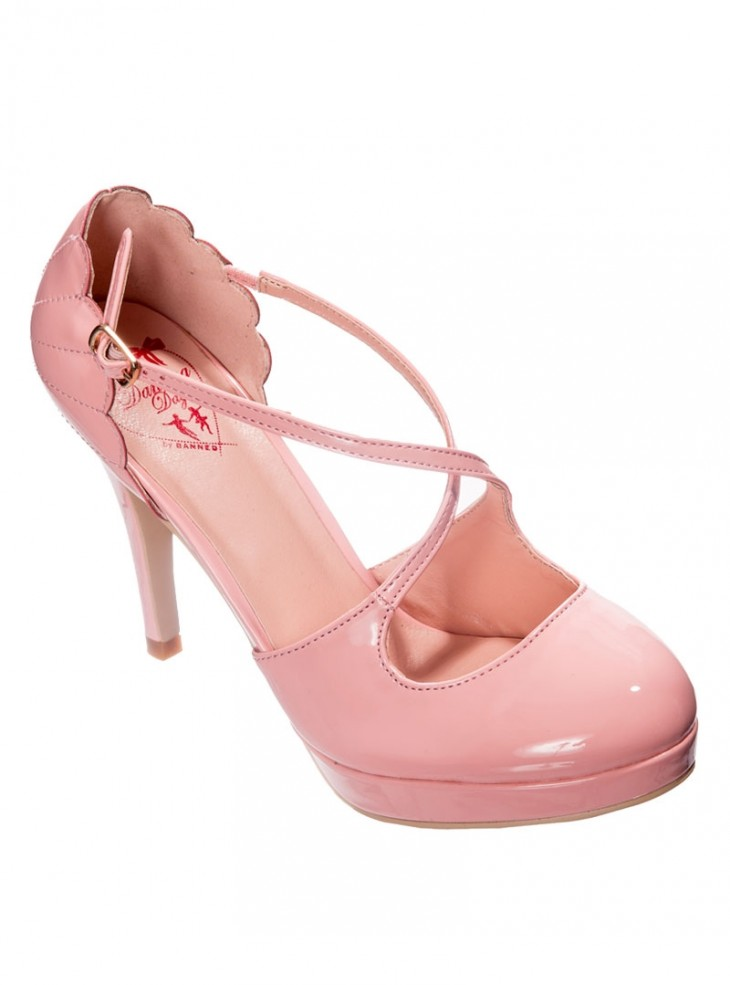 "Chaussures Escarpins Années 50 Rockabilly Pin-Up Banned ""Riverside Pink"""