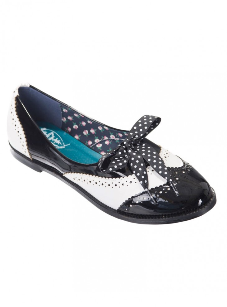 """Chaussures Derby Vintage Pin-Up Retro Banned """"Milana Black"""""""