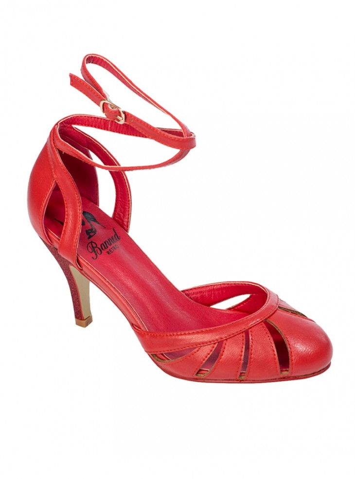 """Chaussures Escarpins Retro Rockabilly Pin-Up Banned """"Vast Lagoon Red"""""""