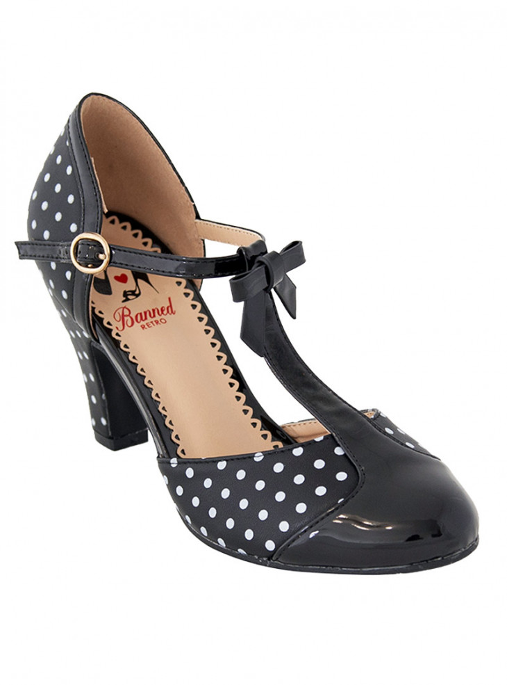 """Chaussures Escarpins Pin-Up Retro Vintage Banned """"Black Kelly Lee"""""""