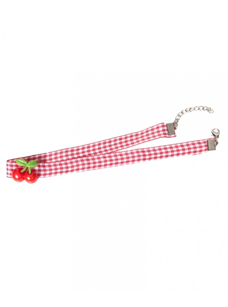 "Collier Ras du Cou Rockabilly Retro Pin-Up Banned ""Cherry Vichy"""