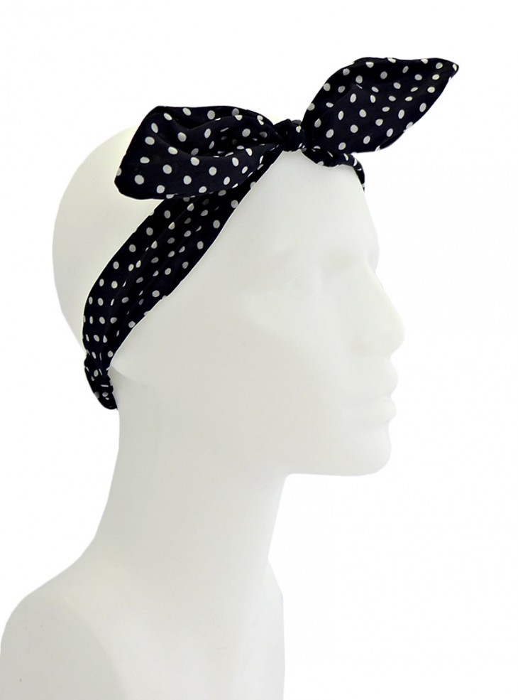 "Foulard Cheveux Rockabilly Pin-Up Années 50 Banned ""Black White Small Dots"""