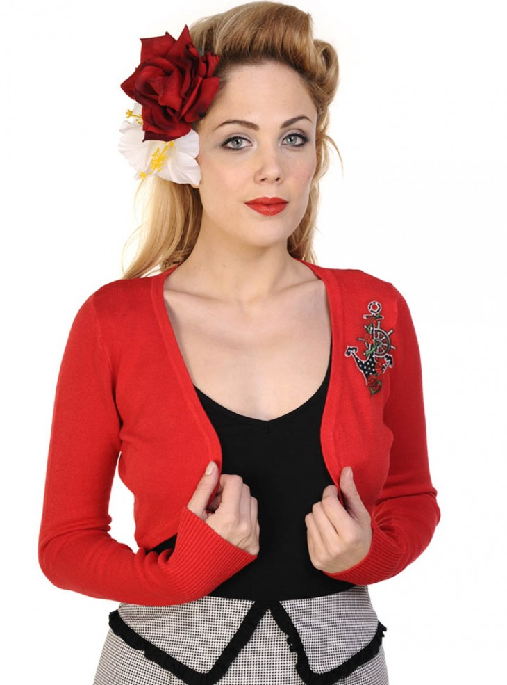 "Bolero rockabilly vintage rouge Banned ""Sailor"""