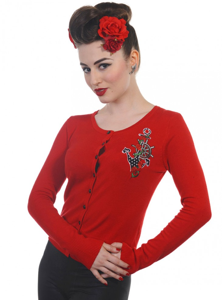 "Gilet Cardigan Rockabilly Vintage Retro rouge Banned ""Sailor"""
