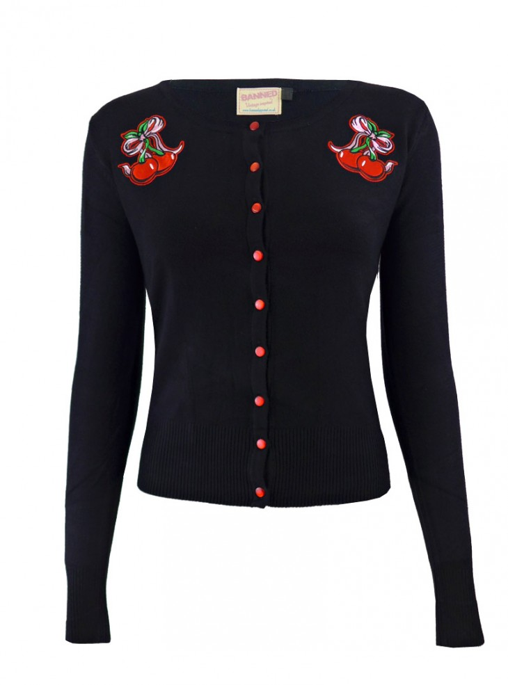 "Gilet Cardigan Rockabilly Vintage Banned ""Cherry Bow"""
