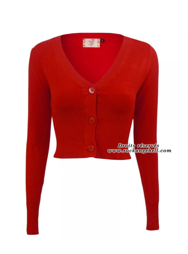 """Gilet Bolero Rouge Pin-Up Rockabilly Vintage Banned """"Lets Go Dancing Red"""""""