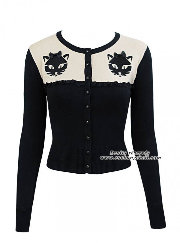 "Gilet Cardigan Retro Rockabilly Banned ""Eternity Cat"""