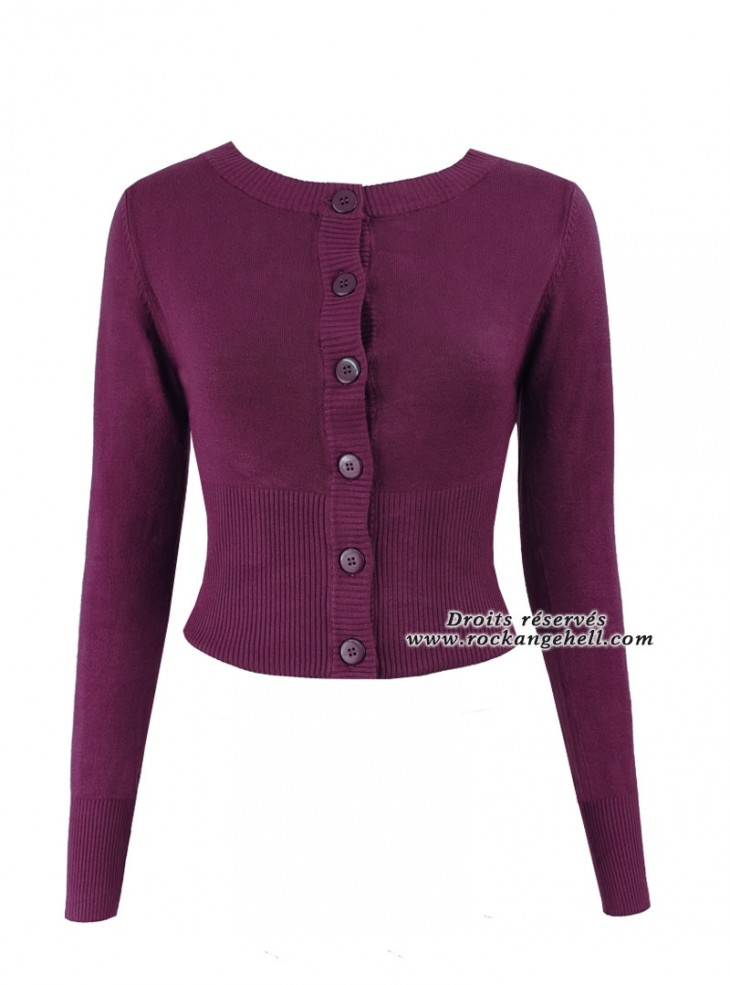 "Gilet Cardigan Violet Pin-Up Rockabilly Banned ""Dolly Purple"""