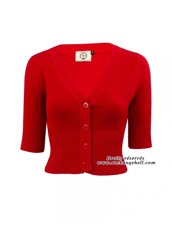 "Gilet Bolero Rouge Rockabilly Pin-Up Retro Banned ""Overload Red"""