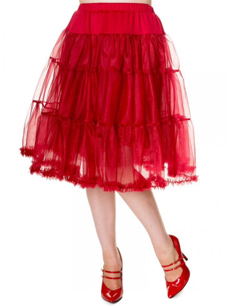 """Jupon 58 cm rockabilly années 50 Banned """"Petticoat Red"""""""