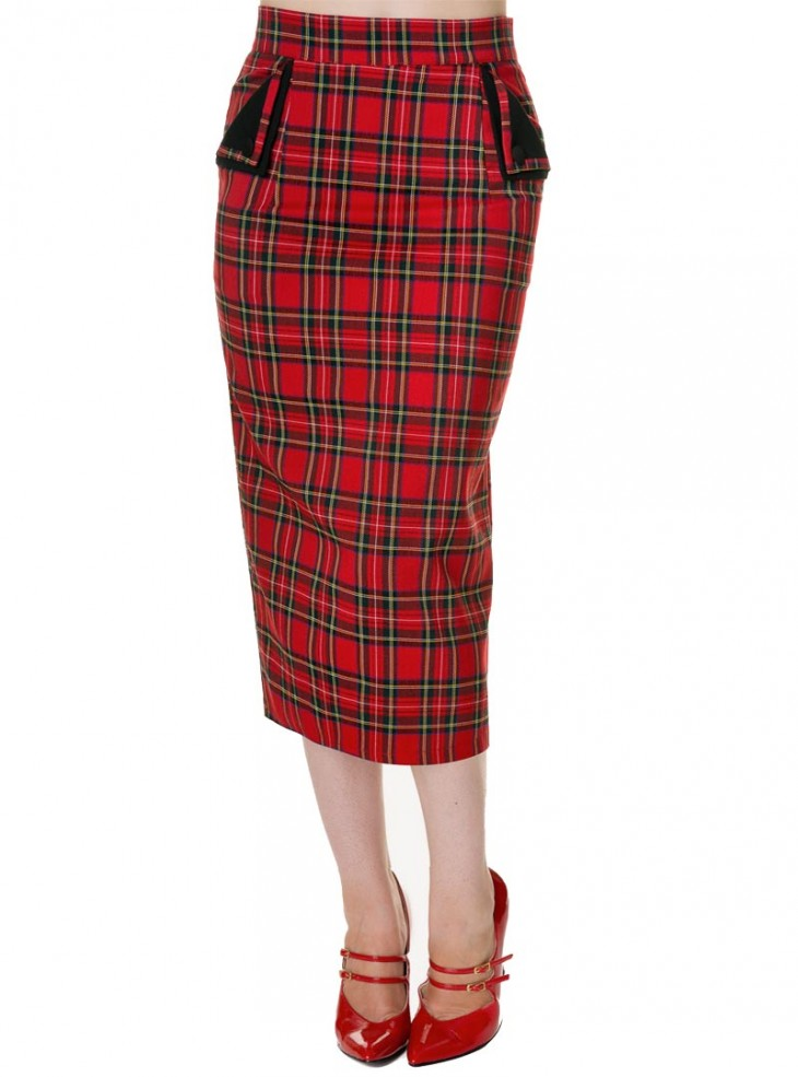 "Jupe Longue Ecossaise Rock Punk Rockabilly Banned ""Red Tartan"""