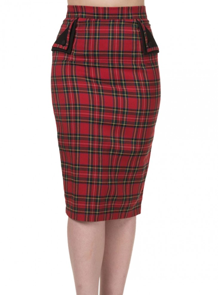 "Jupe Mi-Longue Ecossaise Rockabilly Rock Punk Banned ""Tori Red Tartan"""