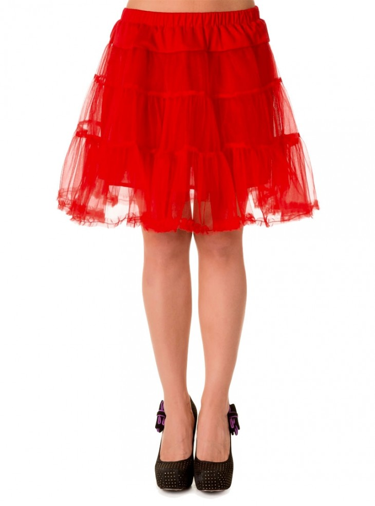 "Jupon Rouge 52 cm Rockabilly Retro Pin-Up Banned ""Petticoat Red"""