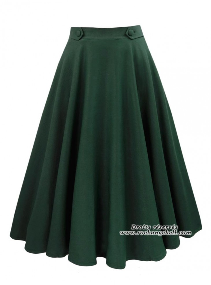 "Jupe Swing Retro Rockabilly Pin-Up Banned ""Di Di Forest Green"""