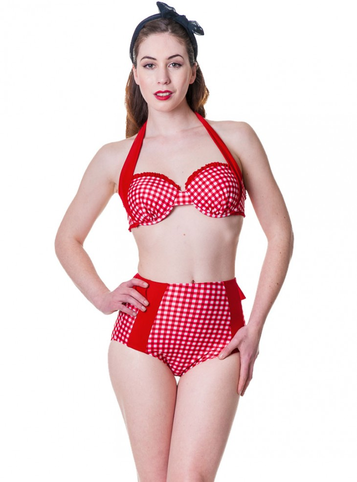 "Maillot de bain 2 pièces Bikini Pin-Up Retro Vintage Rockabilly Banned ""Red Gingham"""