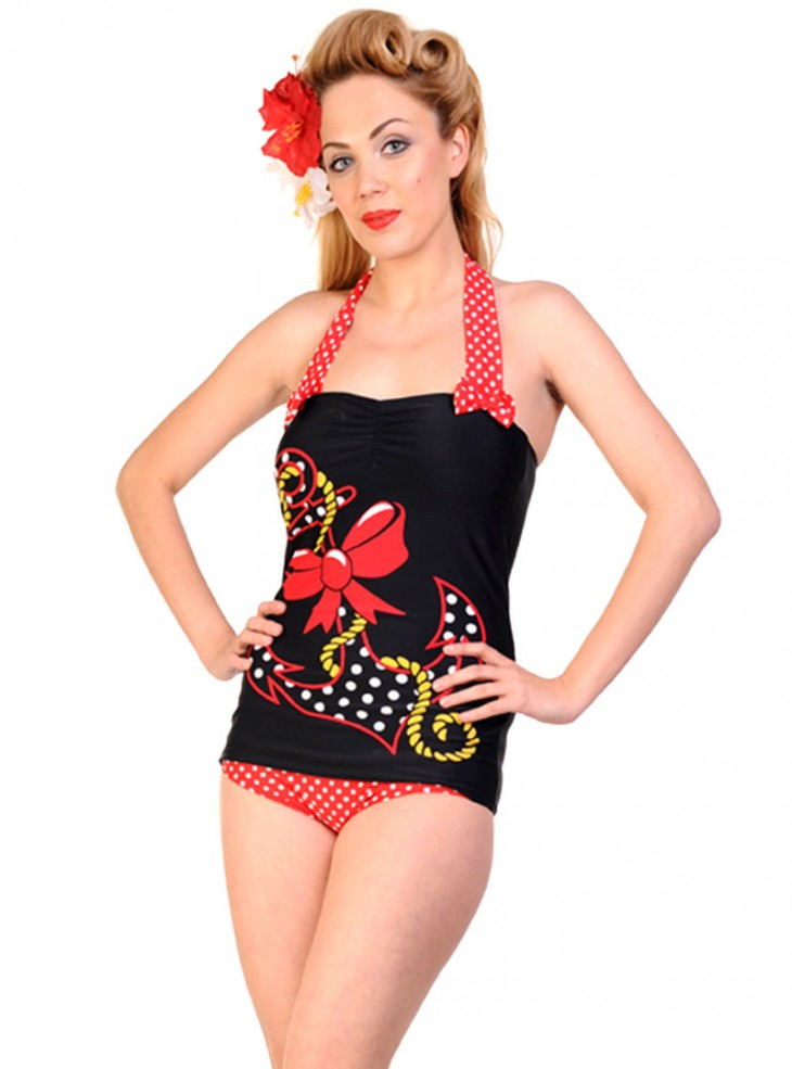"Maillot de bain 1 pièce Vintage Retro Rockabilly Banned ""Big Anchor"""
