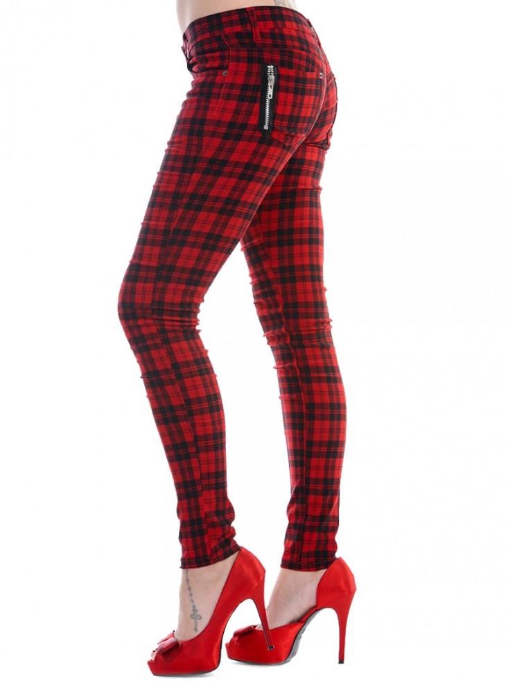 """Pantalon slim écossais rouge Punk Rock Banned """"Red Tartan"""""""