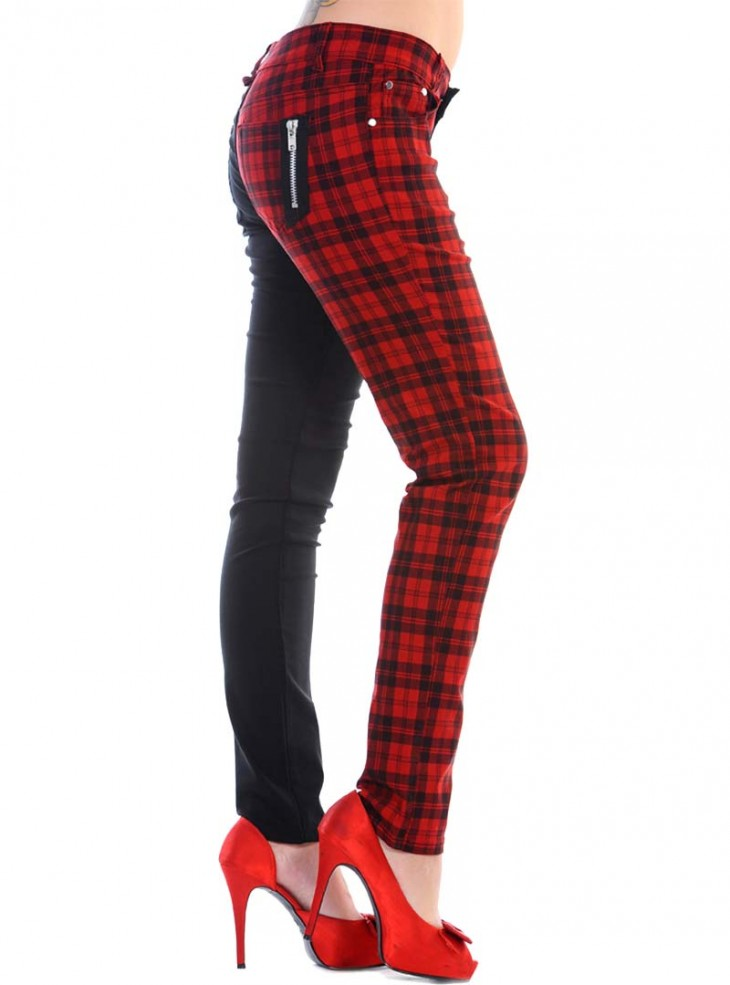 "Pantalon slim écossais bicolore rouge noir Rock Punk Banned ""Black Red Check"""