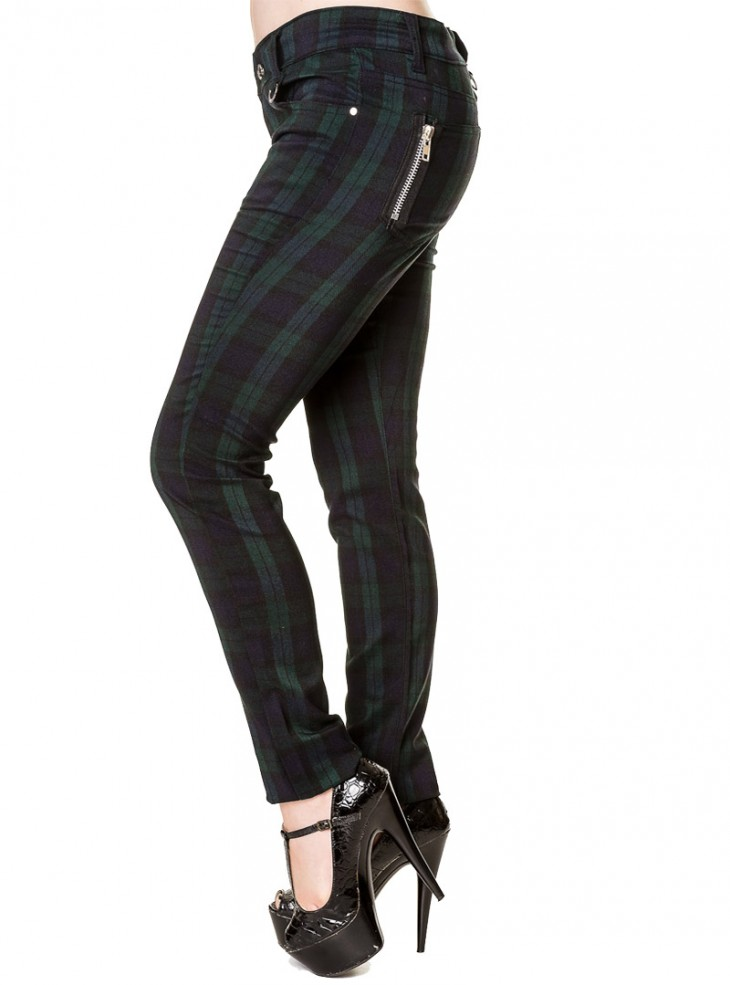 "Pantalon slim écossais Punk Rock Banned ""Black Watch"""