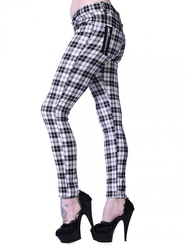"Pantalon slim écossais blanc Punk Rock Banned ""White Tartan"""