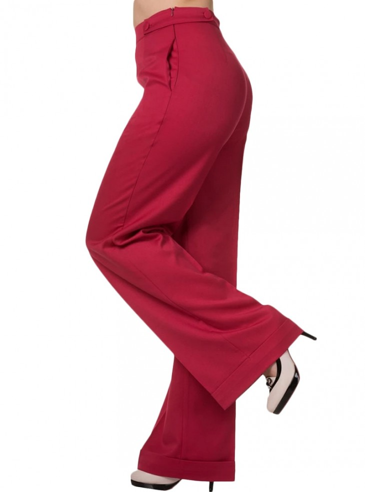 """Pantalon Vintage Rockabilly Retro Banned """"Party On Pink Red"""""""