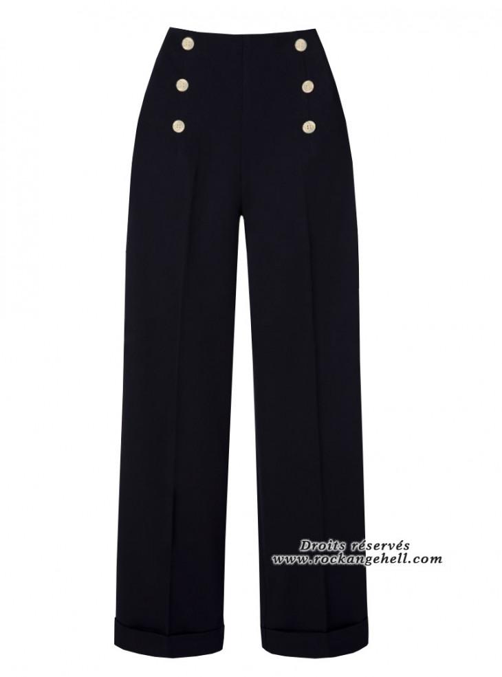 "Pantalon Noir Rockabilly Vintage Pin-Up Banned ""Adventure Ahead Black"""
