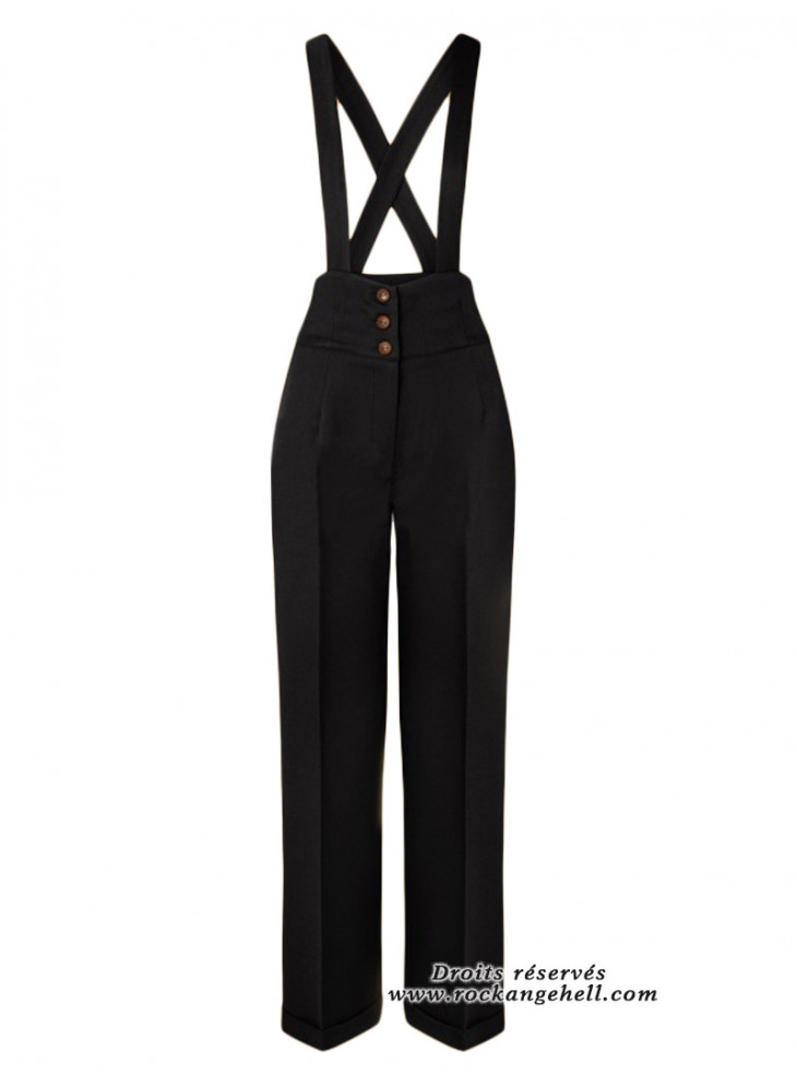 "Pantalon Noir Rockabilly Pin-Up Retro Banned ""Her Favourites Black"""