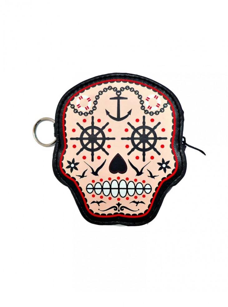 "Porte-monnaie Rockabilly Gothique Banned ""Sugar Skull"""