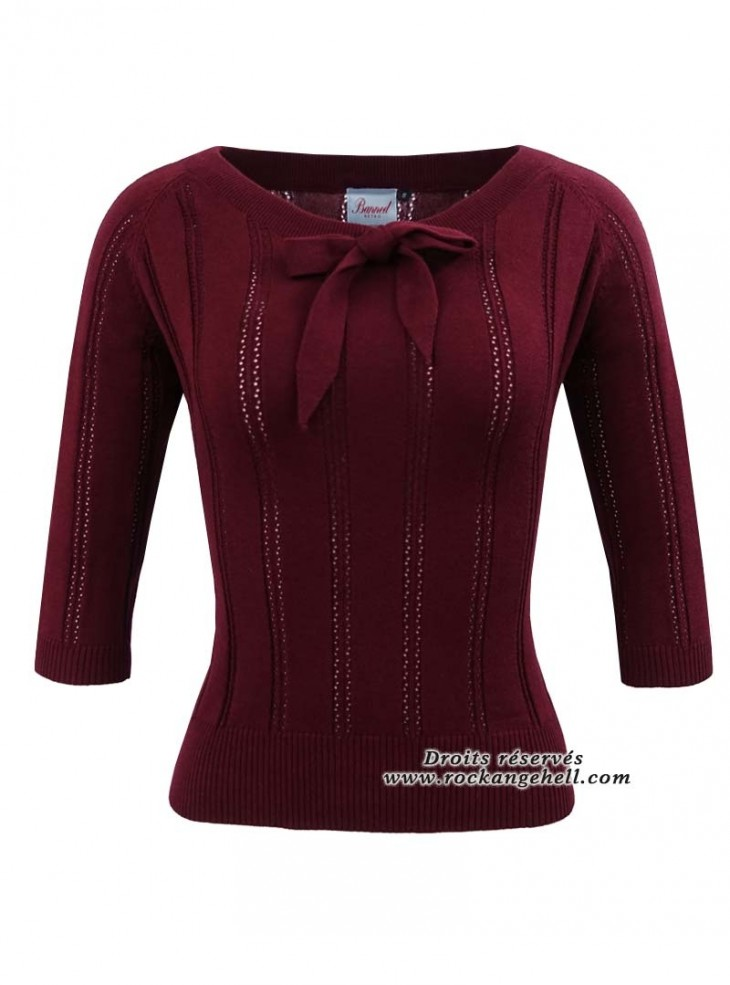 "Pull Top Pin-Up Vintage Retro Banned ""Belle Bow Piontelle Burgundy"""