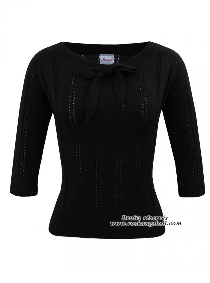 "Pull Top Retro Pin-Up Vintage Banned ""Belle Bow Piontelle Black"""