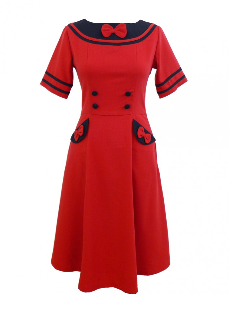 """Robe Rockabilly Rétro Pin Up Banned """"Vintage Bow"""""""