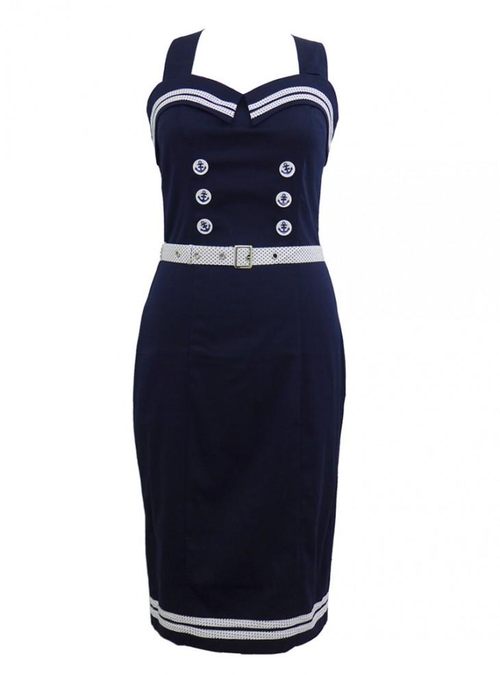 "Robe Sailor Rockabilly Rétro Pin Up Banned ""Blue Navy"""