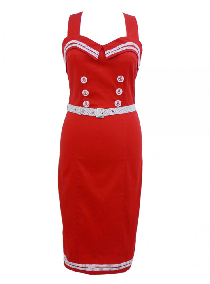 "Robe Sailor Rockabilly Rétro Pin Up Banned ""Red Navy"""