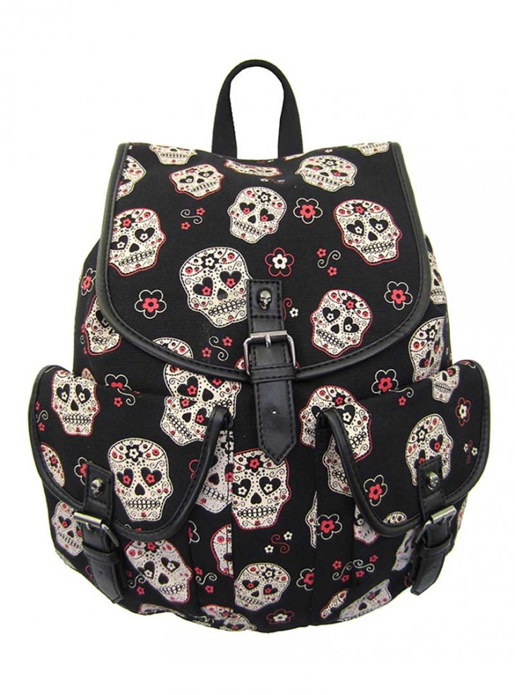 "Sac à dos Rock Rockabilly Banned ""Sugar Skull"""