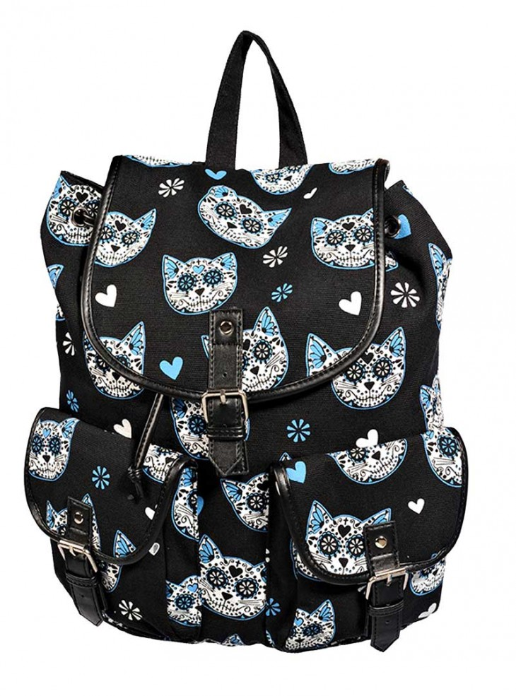 "Sac à dos Rockabilly Kawaii Banned ""Blue Kittie"""