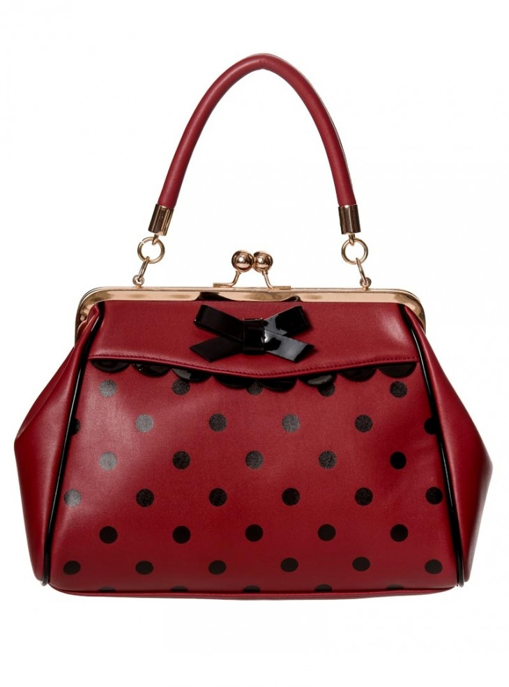 """Sac Rockabilly Années 50 Retro Pin-Up Banned """"Crazy Little Thing Burgundy"""""""