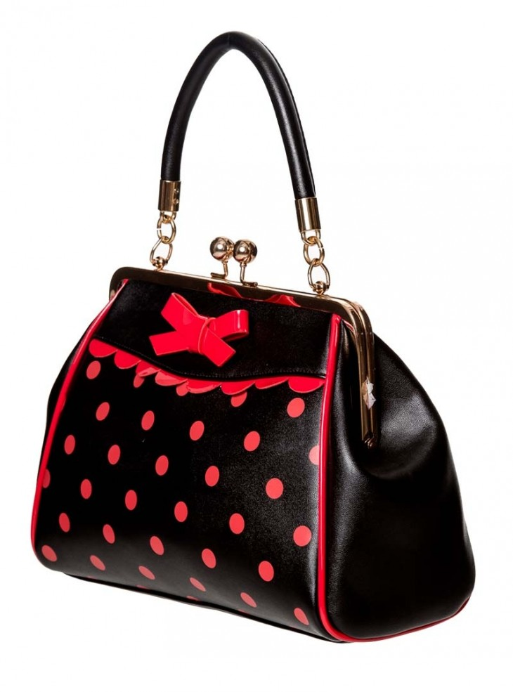 "Sac Rockabilly Années 50 Retro Pin-Up Banned ""Crazy Little Thing Black Red Dots"""