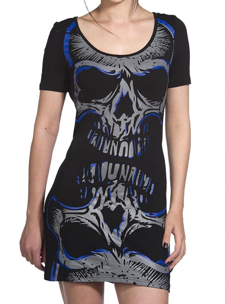 "Débardeur Robe Rock Gothique Banned ""Blue Skull"""