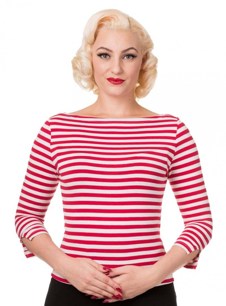 """Top Marinière Rockabilly Retro Années 50 Pin-Up Banned """"Modern Love Red Stripes"""""""