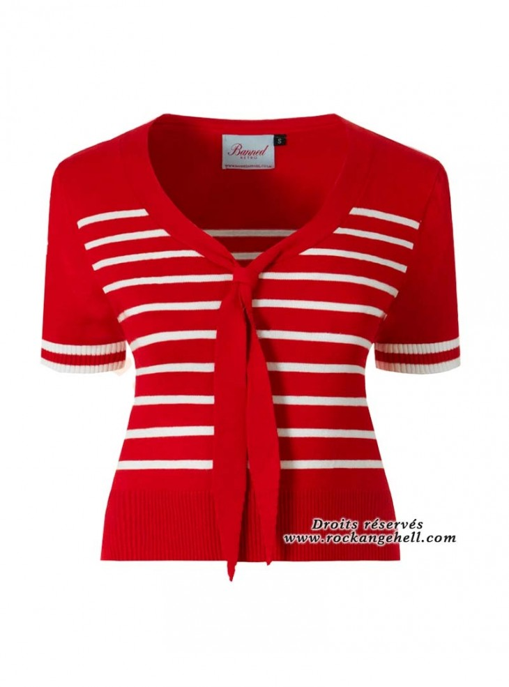 """Top Rouge Sailor Retro Pin-Up Rockabilly Banned """"Red Stripe Tie"""""""