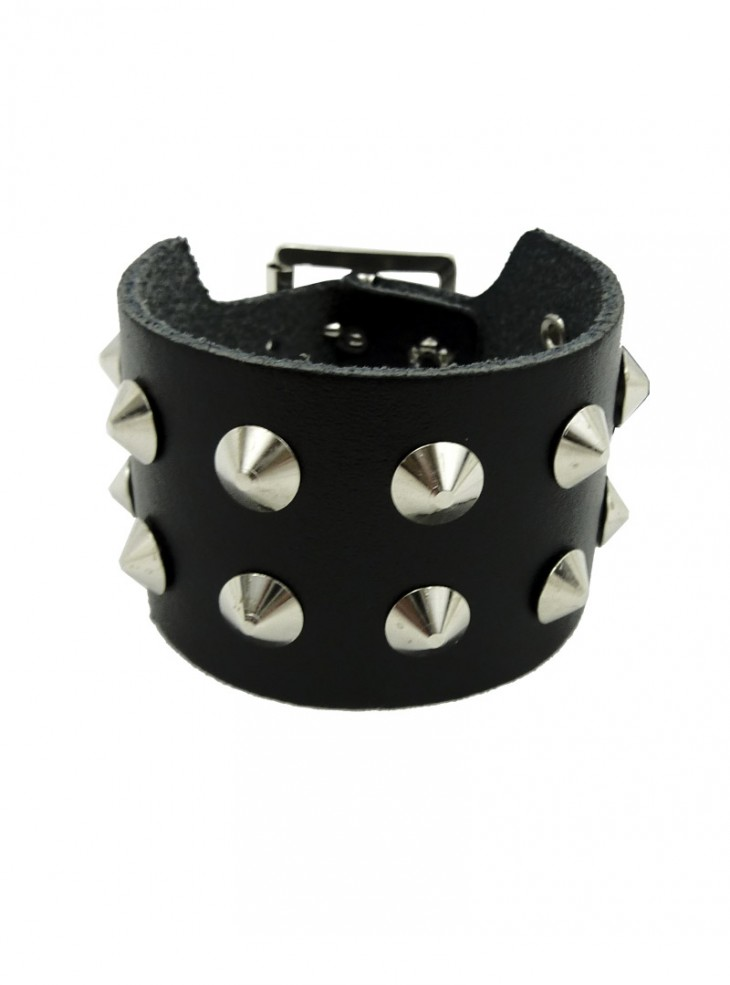 "Bracelet de force Cuir Punk Rock ""Double Conical"""
